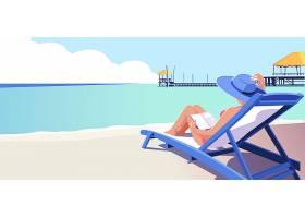 夏天美女在海滩看书背景图片
