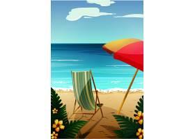夏天沙滩椅遮阳伞海滩背景图片