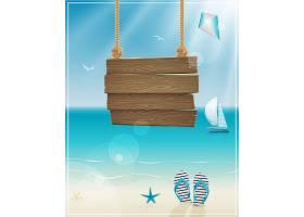 夏天海滩悬挂的木板背景图片