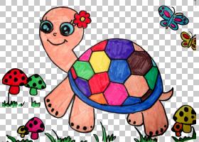 龟儿童绘画创意作品,彩绘龟PNG剪贴画水彩画,动物,手绘花卉,窗口,