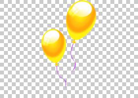 黄色气球卡通绘图,明亮的黄色卡通气球PNG剪贴画卡通人物,气球,语