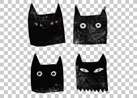黑猫宠物,黑猫PNG剪贴画动物,黑头发,猫像哺乳动物,黑白色,卡通,