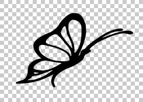 蝴蝶视觉艺术剪影,蝴蝶剪影的PNG剪贴画徽标,单色,贴纸,花卉,卡通