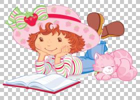 草莓脆饼Charlotte Tart,帽子女孩PNG剪贴画画,时尚女孩,手,阅读,