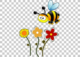 蜂蜜蜂概念教育孩子,卡通蜜蜂PNG剪贴画卡通人物,向日葵,昆虫,生