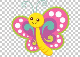 蝴蝶卡通,可爱卡通透明PNG剪贴画笑脸,漫画,虚构人物,花卉,婴儿玩