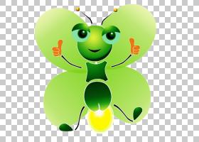 蝴蝶卡通灯,绿色萤火虫PNG剪贴画动物,叶子,绿苹果,虚构人物,动物