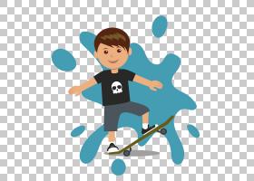 滑板卡通,滑板PNG剪贴画蓝色,儿童,运动,海报,男孩,运动器材,插画
