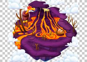 火山,浮动火山PNG剪贴画紫色,紫罗兰色,漂浮花瓣,卡通,虚构人物,