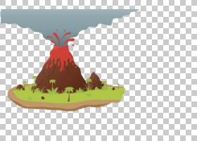 火山卡通岩浆欧几里得,火山PNG剪贴画鸡形目,鸡,脊椎动物,草,石头