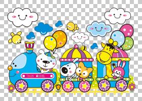 火车卡通动物,动力火车PNG剪贴画文本,卡通,火车站,动物,材料,剪