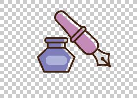 钢笔墨水文具,手绘墨水笔PNG剪贴画紫色,用品,墨水,铅笔,手,办公