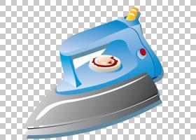 衣服熨烫熨烫电器小家电蒸汽,蓝铁png剪贴画蓝色,电子产品,卡通图片