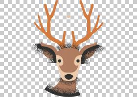 驯鹿,手绘驯鹿PNG剪贴画水彩绘画,鹿茸,哺乳动物,生日快乐矢量图