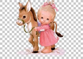 驴儿童女孩娃娃,穿着粉红色连衣裙的堕落公主PNG剪贴画马,复古,蹒