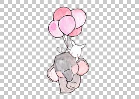 纸苗圃绘图印刷,大象和白兔,大象和兔子拿着气球艺术品PNG剪贴画