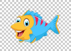 鱼卡通,可爱卡通海洋鱼,蓝色,红色和黄色鱼PNG剪贴画卡通人物,海