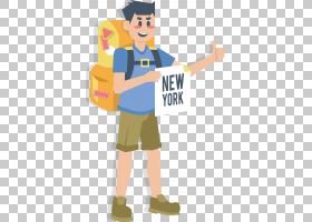 纽约市旅行,一个人背包旅行PNG剪贴画T恤,背包,男孩,人类,卡通,虚