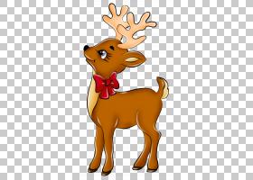 鲁道夫圣诞老人的驯鹿,可爱的驯鹿,鹿红色蝴蝶结PNG剪贴画哺乳动