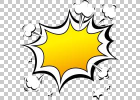 语音气球漫画,卡通爆炸效果边框,黑色和黄色语音气球模板PNG剪贴