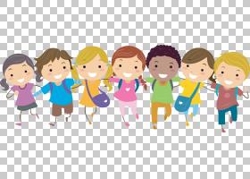 儿童内容,Pic学校儿童,一群微笑的孩子抱着他们的肩膀的PNG剪贴画
