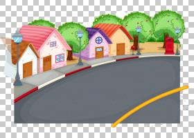 儿童卡通,画镇街道PNG剪贴画水彩绘画,摄影,手绘花卉,路灯,生日快