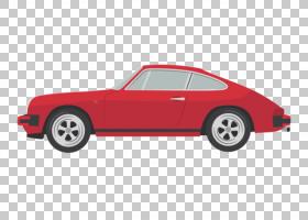 跑车保时捷911,复古跑车卡通PNG剪贴画卡通人物,敞篷车,老式汽车,