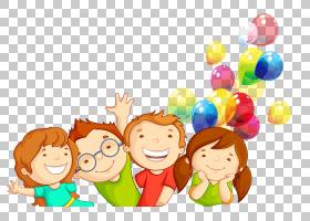 儿童权利运动童年,卡通小孩,两个男孩和女孩与气球PNG剪贴画卡通