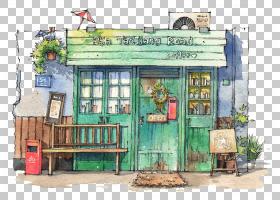 这个夏天水彩画房屋建筑,水彩房子PNG剪贴画水彩叶子,建筑,手,颜