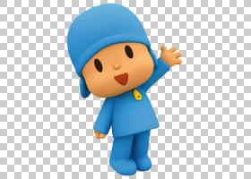 儿童电视节目动画,Pocoyo透明,男孩穿着蓝色衬衫和帽贴纸PNG剪贴