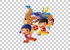 龙舞狮子舞春节中国龙,龙卡通人物素材创意PNG剪贴画卡通人物,儿