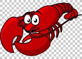 龙虾海鲜卡通绘图,红龙虾尾巴PNG剪贴画爱,动物,心脏,虚构人物,免