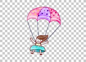降落伞跳伞,卡通手绘降落伞小女孩PNG剪贴画水彩画,儿童,手,气球,