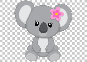 考拉熊大熊猫可爱,彩绘灰色考拉PNG剪贴画水彩画,哺乳动物,动物,