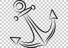 锚色,手绘锚PNG剪贴画水彩画,白色,文本,技术,单色,手绘,卡通,封