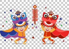 舞狮龙舞,中国舞狮PNG剪贴画食品,动物,中国风格,狮子头,虚构人物