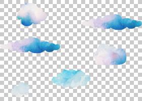 蓝天云计算机,梦想水彩云彩,云彩PNG clipart水彩画,蓝色,水彩叶