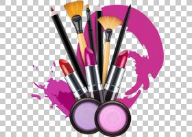 化妆品唇膏化妆师股票摄影,化妆,化妆刷和各种颜色的口红PNG剪贴