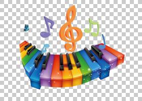 音符键盘,彩色卡通音符键盘PNG剪贴画卡通人物,电子产品,颜色飞溅