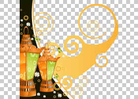 古兰经斋月开斋节,风模式和美丽的装饰灯,两个橙绿灯笼PNG剪贴画