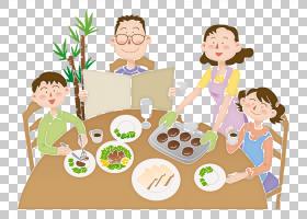 吃卡通家庭餐,家人一起吃,PNG剪贴画孩子,食物,人,蹒跚学步,孩子,