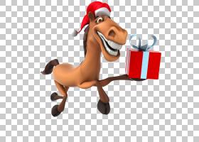 马新年圣诞老人圣诞节,滑稽的马礼物盒PNG clipart希望,哺乳动物,