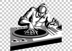 唱片骑师DJ混音器卡通,说唱文件PNG剪贴画标志,单色,免版税,夜总