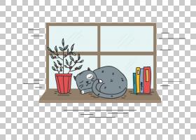 猫小猫,睡觉的小猫PNG剪贴画角度,家具,动物,窗口,睡眠,现场,卡通