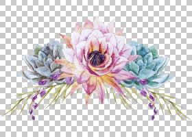 水彩画花艺设计婚礼花,手,画花,粉红色和青色花PNG剪贴画紫色,插