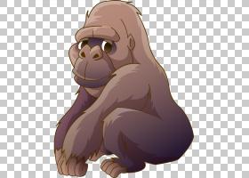 猿卡通猩猩十字河大猩猩,手,画卡通大猩猩蹲下PNG剪贴画水彩绘画,