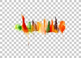 水彩绘画绘画艺术城市景观,绘图剪影城市PNG剪贴画画,手,橙色,文