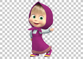 玛莎和熊,玛莎透明,粉红色连衣裙的动画女孩带帽PNG剪贴画紫色,儿
