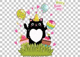 甜甜圈结冰贺卡,卡通动物和气球PNG剪贴画卡通人物,摄影,气球,生