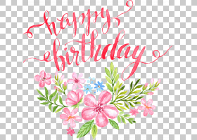 生日书法贺卡,鲜花生日快乐字母扣剪辑高清,粉红色的花朵画生日快